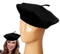 BLACK BERET FRENCH FASHION FANCY DRESS PARTY WOMEN MEN HAT FUN COSTUME ACCESSORY
