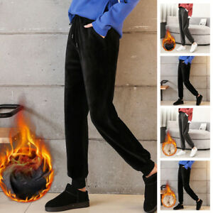 Women Winter Thermal Thick Fleece Lined Pants Long Trousers With Pockets Warm
