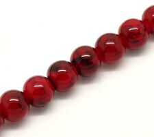 8mm Deep Red Glass Beads, Black Marble Swirl Pattern 100 beads, bgl0752