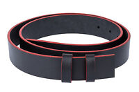 Black leather belt Strap Mens belts ferragamo buckles RED EDGE No buckle 34""