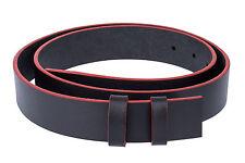 "Black leather belt Strap Mens belts ferragamo buckles RED EDGE No buckle 36"""