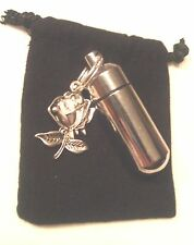 Beautiful Silver Rose ANOINTING OIL HOLDER Locket & Velvet Pouch