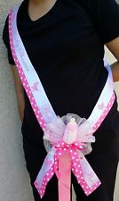 1 Baby Shower Party  MOM TO BE SASH,Pink/Girl, Ribbon favors,niña,Corsage Bottle