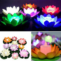Lotus Flower LED Lights Lamp Floating Pond Garden Pool Night Light Ornament New
