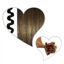 25 ondulado Mechas claro ceniza marrón #08, 55 cm, Hebra de cabello real, 55cm