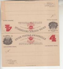 PERU, Postal Card with Reply, 1885 4 in  Brown Red on 4c. Black on Cream, unused