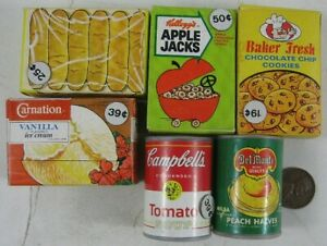 """Lot of Vintage 1960's Doll House Canned Food Boxes About 2"""" tall"""