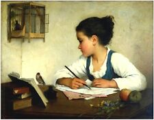 Postcard: Young Girl Writing as Goldfinch Looks On - Apples, Wildflowers c. 1870