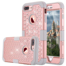 For iPhone 7 Plus Hybrid Shockproof Heavy Duty Armor Diamond Bling Case Cover
