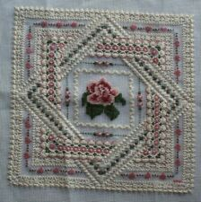 Pink Roses Flowers Lace Design Needlepoint Completed Finished