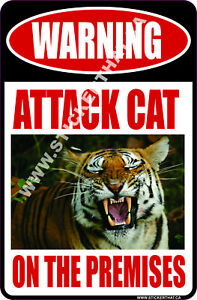 "Animal #3 ""ATTACK CAT ""Aluminum Sign Car Trucks Parking Signs Funny dog"