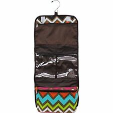 NEW MULTI COLOR CHEVRON JEWELRY TRAVEL HANGING TOILETRY BAG COSMETIC MAKEUP CASE