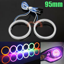 2x 95mm White Red Blue Green Yellow Purple Car Angel Eye Cob LED Halo Ring Light