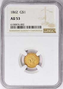 1862 Indian Princess Gold Dollar NGC AU-53