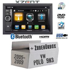 Xzent Autoradio für VW Polo 9N3 2DIN Bluetooth DVD CD USB HDMI Touch Einbauset