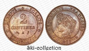 2 Centimes 1889 A. Cérès. Bronze. France. Qualité!