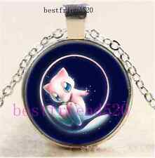 Pokemon Mew Photo Cabochon Glass Silver Chain Pendant Necklace