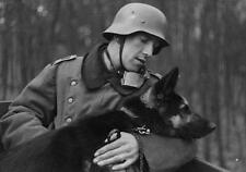 WWII B&W Photo German Soldier Shepherd Dog  WW2 Wehrmacht World War Two /2053