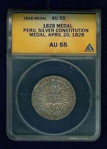 "PERU REPUBLIC APRIL 20th, 1828  SILVER ""CONSTITUTION"" MEDAL ANACS CERTIFIED AU55"