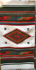 "NATIVE ZAPOTEC INDIAN RUG  100% WOOL  HAND WOVEN  60""x30"""