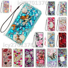 Flip Leather Phone Cases Bling diamonds stand wallet covers & 2 straps For Sony