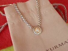 """DAVID YURMAN COOKIE Necklace 7 Pave Diamonds 18K Gold & Silver 16"""" CABLE Chain"""