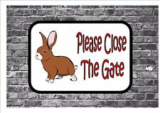 Please Close The Gate Rabbit Design Metal Door Sign Gate Sign Shut the Gate