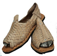 Mexican cien clavos Huaraches Men's White Leather Tire Sole chancla size 8
