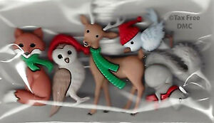 Dress It Up Woodland Holiday Christmas 5 Shank Buttons Craft Knit Sew New