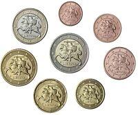 Litauen Euro KMS 2015 bankfrische 1 Cent bis 2 Euro Umlaufmünzen in Münztasche