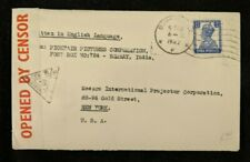 1942 Bombay India GPO Censorship Cover to New York City USA