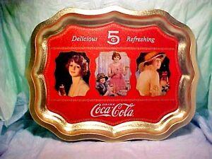 """COCA-COLA DELICIOUS 5c REFRESHING WAVY EDGE TRAY GOLD COLOR W/ 3 LADIES 17 1/2"""""""