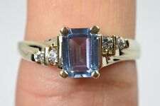 Handmade 14k Gold White Sapphire Blue Natural Topaz Ring Solitaire with Accents