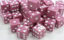 "WHOLESALE LOT OF 50 PINK DICE WHITE PIPS 6 SIDED D6 DIE GAME SIX 5/8"" 16mm"