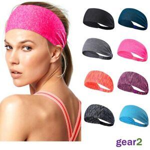 Ladies Mens Elastic Wide Headband Sports Yoga Gym Running Hair Band Womens UK