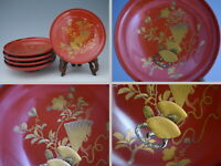 Gorgeous Japanese Antique Lacquerware SAKE CUPs with CROWN & CHERRY Makie  213