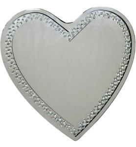 Grand Coeur en Forme De Argent Miroir Mural Diamant Cristaux Bord 70cm