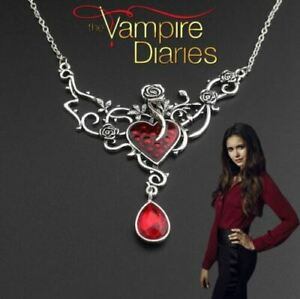 The Vampire Diaries Elena Gilbert Antique Twin Ruby Heart Rose Necklace Pendant