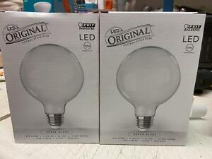 2 PACK Feit 100-Watt Equiv G40 Dimmable LED Glass Vintage Edison Light Bulb