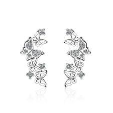 Women Lady Fashion 925 Sterling Silver Zircon Butterfly Ear Stud Earrings