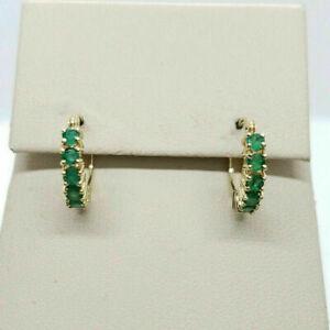 1.00 Ct Round Cut Green Emerald 14K Yellow Gold Over Huggie Hoop Earrings Womens