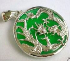 Hand Made Green Jade Silvered Dragon Phoenix Pendant & Sterling Silver Chain