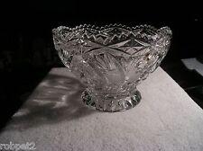 "Lead Crystal Footed Bowl Pressed Glass Pin Wheel & Star w/Cut Work 4.25"" H"
