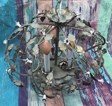 Vtg Victorian Hanging Light Fixture Chandelier Floral Round Birdcage Candle