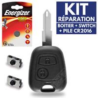 Coque Réparation Clé Télécommande pour Plip PEUGEOT 206 106 306 ✚ Pile ✚ Switch
