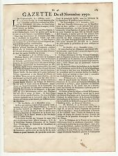 1750, Nov.28,Original French Gazette, News from Virginia, Tabacco harvest