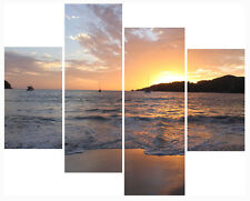 """20"""" X 40""""+ Long 4 Panel Wall Art Canvas Picture Calm Reflecting On Sea Prints"""