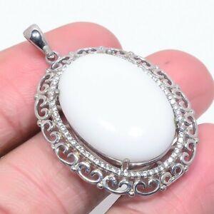 "White Coral & White Topaz 925 Sterling Silver Handmade Pendant 1.76"" M1566"