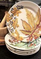 Pottery Barn Set 4 Watercolor Autumn Leaves Salad Plates Dessert Thanksgiving