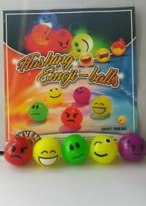 LED Emoji Flashing Balls Assorted colours party fillers pet play Chew toy x 5